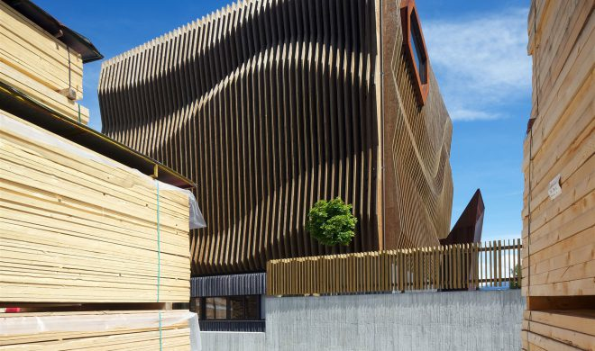 sede damiani; edificio legno; a telaio